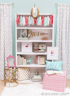 Making a sweet personalized nook makes all the difference. There is a lot of tween room inspiration here. I love the side table, the fringe decor, and color pallet. More Inspiring Teenage Bedroom Ideas on Frugal Coupon Living.