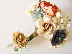 Paper Succulent and Flower Bouquet by JumpingJones #weddingbouquet #succulent #paperflower