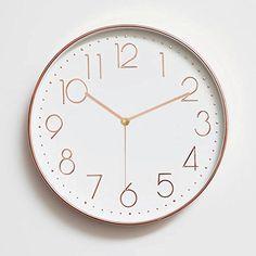 Foxtop 12 Inch Minimalist Silent Sweep Wall Clock with Super Slim Frame / Non Ticking Digital Modern Stylish Classic Quartz Round Clock - Rose Gold Arabic Numerals