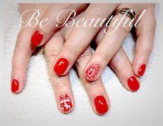 Red Christmas nailart gelish Alessandro Lac Sensation