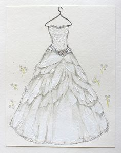 CUSTOM Hand Drawn Wedding Dress Illustration by JessicaHerrndorfART on Etsy