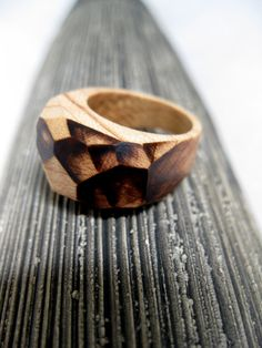 Fragment Wood Ring Size 7  7.5  Multifacet Wood Ring by KDGArt, $46.00