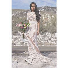 Vintage Sheer Scalloped Lace Hippie Boho Bohemian Mini Train Wedding... ($798) ❤ liked on Polyvore featuring dresses, silver, women's clothing, lace dress, vintage maxi dresses, taupe maxi dress, vintage white dress and mini dress