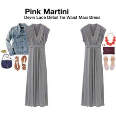 Pink Martini Devin Lace Detail Tie Waist Maxi Dress