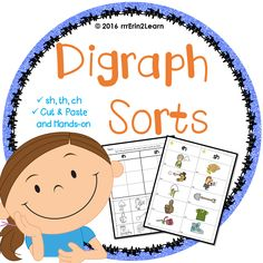 Digraph sorts for kindergarten and first grade! This set includes hands on and cut and paste digraph sorts for sh, th, and ch. They are scaffolded and offer versions with beginning sound focus vs. ending sound focus. Can print and go and laminate to use again and again!
