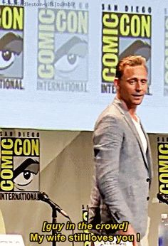 """2015 (remember in 2013 when Tom was dressed as Loki and some guy yelled """"my wife loves you!"""" and made Tom break character? :) )"""