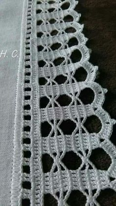 How to Crochet Wave Fan Edging Border Stitch Crochet Edging Patterns, Crochet Lace Edging, Crochet Borders, Thread Crochet, Filet Crochet, Crochet Doilies, Crochet Flowers, Crochet Stitches, Tattoo Dentelle