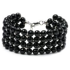 Beaded Black Bracelet Gemstone Bracelet Rhodium Plated by MYNESS