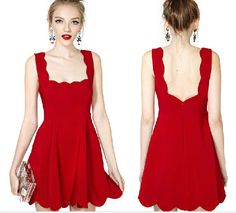 Hot Selling Euro Fashion Women Backless Straps Red Cotton Dress