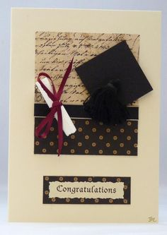 With the graduation season coming this card would be perfect for the graduates in the family to congratulate them on their great achievement. It features a mortar board with a black tassel on a background of craft papers and a black silk ribbon. College Graduation Cards Handmade, Graduation Ideas, Graduation Celebration, Cool Cards, Diy Cards, Stencil, Congratulations Card, Mothers Day Cards, Card Sketches