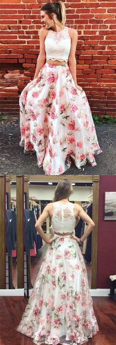 A Line Two Piece Prom Dress,Round Neck Floral Chiffon Prom Dresses with Appliques,Lace Ivory Party Dress,Sleeveless Graduation Dress,Prom Dresses TR33 #twopiece #lace #appliques #ivory #promdress #elegant #unique #vintage #promdressesvintage