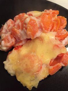 J'avais plein de carottes à la maison et j'avais envie d'un petit gratin. Après quelques recherches sur internet, j'ai mixé 2 recettes en allégeant et voici ce que ça donne : pour 4 pers 4 pp / pers (weight watchers) -1 kg de carottes -1 gousse d'ail...