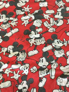 Vintage Disney Mickey Mouse Red Black and White Flat by Heremeow