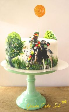 confirmation cake with motorbike and sugar glas sun, hand painted by www. Confirmation Cakes, Hand Painted, Sugar, Create, Cake