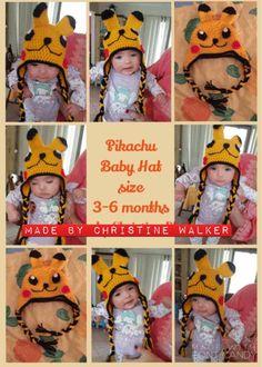 Pikachu Pokeball, Pikachu Crochet, Beanie Hats, Beanies, Be My Baby, Baby Models, Pattern Library, Hat Sizes, Love Photography