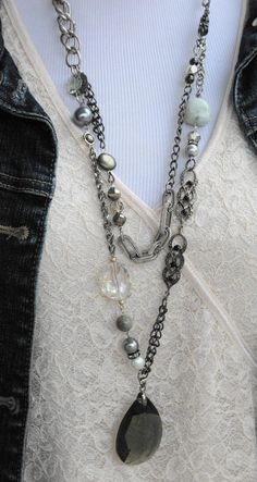 Vintage Chandelier Prism Multi Strand Mixed Chain Necklace in Shades of Grey
