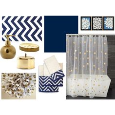 Possibly Navy and Gold for the Master Bath. Pink sink would look fine in there.