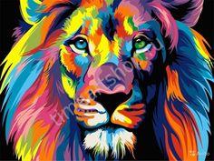 Радужный лев, картины раскраски по номерам, размер 40*50см, цена 750 руб.