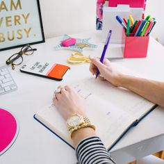 pretty office spaces-- love the @bando  print  I am very busy!  ban.do   office inspiration
