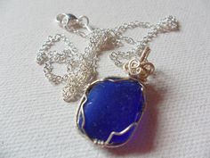 Cobalt blue wire wrapped sea glass necklace  by ShePaintsSeaglass