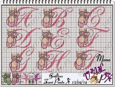 Apaixonada por Ponto Cruz: Monograma Ballet In Love with Cross Stitch: Monogram Ballet Cross Stitch Letters, Cross Stitch Baby, Diy Embroidery, Cross Stitch Embroidery, Mermaid Toys, Cross Stitching, Beading Patterns, Stitch Patterns, Sewing Projects