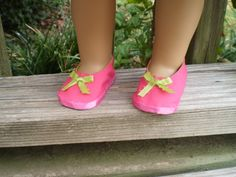 """18"""" Doll Shoes, 18"""" Doll Pink Limegreen Shoes, Handmade 18"""" Girl Doll Shoes - pinned by pin4etsy.com"""
