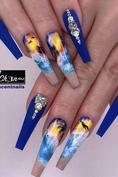 Glam Nails, Stiletto Nails, Cute Nails, Coffen Nails, Salon Nails, Bling Nails, Purple Nail Designs, Winter Nail Designs, Blue Acrylic Nails