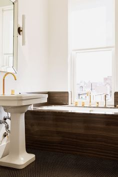 Bathroom furniture names awesome source list modern gold and brass fixtures for the bathroom Bathroom Floor Tiles, Bathroom Faucets, Shower Floor, Tile Floor, Tub Tile, Downstairs Bathroom, Master Bathroom, Apartment Therapy, Best Faucet