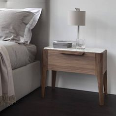 Marble top of wooden bedside table Ziggy Night. Walnut and marble nightstand or end table Marble Nightstand, Rustic Nightstand, Nightstand Ideas, Modern Bedroom, Bedroom Decor, Bedroom Night, Bedroom Sets, Bedroom Furniture, Master Bedroom