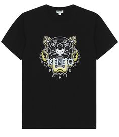 KENZO TIGER PRINTED SHORT SLEEVE T-SHIRT IN COTTON JERSEY