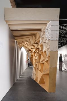"""""""Stacked Mockup"""" by architects David Freeland and Brennan Buck. First conceived as a dynamically torqued pavilion for the Lightbox Gallery in Surrey, UK Parametric Architecture, Parametric Design, Architecture Details, Interior Architecture, Interior Design, Design Interiors, Architecture Diagrams, Architecture Portfolio, Parametrisches Design"""