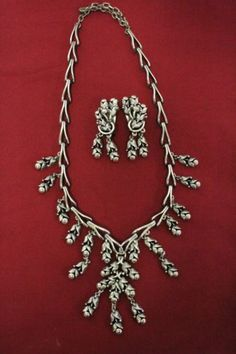 Rare-signed-Stamped-Vintage-silver-tone-034-Tortolani-034-Necklace-w-matched-Earring