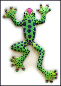 Painted metal frog wall hanging
