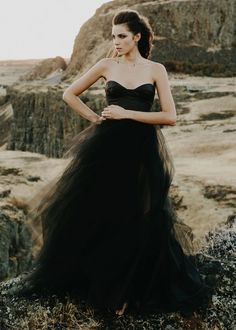 Black Wedding ceremony Attire You Can Purchase Proper Now Fit And Flare Wedding Dress, Black Wedding Dresses, Elegant Wedding Dress, Gothic Wedding, Strapless Dress Formal, Tulle Dress, Ball Gowns, Midnight Sun, Ivory