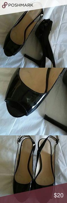 Nine West JustSmile Slingback Heels Sz 6.5 Patent..4in. Nine West Shoes Heels