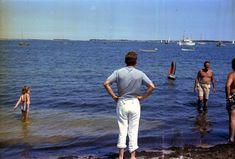 ST-C234-9-63. President John F. Kennedy, Senator Edward M. Kennedy, and Lem Billings at the Launching of Caroline Kennedy's Toy Sailboat in Hyannis Port - John F. Kennedy Presidential Library & Museum