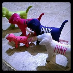 Victoria's Secret Pink Dogs! You can't find any of these at stores, the purple and green ones are the same, the shiny one is the white one and the pink one is velvet and then there is a limited edition mini. I WILL SELL SEPARATELY. JUST ASK! PINK Victoria's Secret Accessories