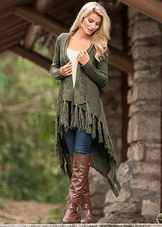 Love this whole outfit! Buy the whole outfit here! Braid Detail Sweater $49 Don't forget the boho look for fall.· Sizes: XS (2), S (4-6), M (8-10), L (12-14), XL (16) · Braided trim and fringe at hem · Ribbed sleeves · No closure · Acrylic. Imported