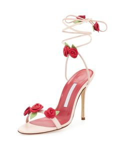 Manolo Blahnik Xiafore Rose Ankle-Wrap Sandal, Pink/Red - Shoes Post