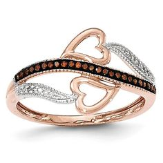 14K Rose Gold Red & White Diamond Heart Ring Y13215AA