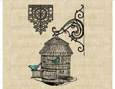 Vintage Birdcage iron hanger lace bluebirds digital download image Iron on transfer decoupage pillows burlap totebags towels tags No. 218