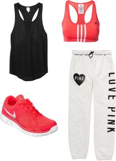 Although I wouldnt wear sweatpants to the gym, I love this outfit. I love that the colours go together but that it could look super cute outside of the gym. I might change the bra, but otherwise, an adorable outfit to wear to do some quick shopping.