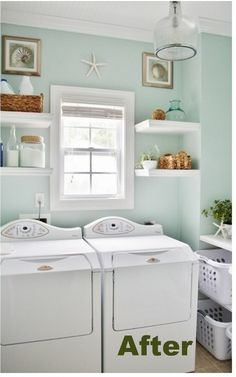 Sherwin Williams Rainwashed Blue Green Laundry Room - love this tranquil wall color Rainwashed Sherwin Williams, Hm Deco, Blue Laundry Rooms, Farmhouse Laundry Room, Sweet Home, Laundry Room Storage, Laundry Baskets, Laundry Room Design, Storage Room
