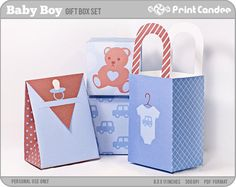 Baby Boy  Printable Party Favor Boxes / Party Favor by printcandee, $3.50