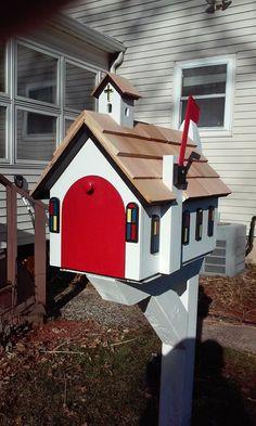 Country church mailbox built by Daves Custom Built Mailboxes Wooden Mailbox, Diy Mailbox, Mailbox Ideas, Mailbox Post, Unique Mailboxes, Custom Mailboxes, Mailbox Garden, Outdoor Christmas Decorations, Outdoor Decor