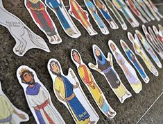 Printable Bible characters - great for a felt board or as magnets. Could be fun for family scripture study, quiet time during church meetings, or primary lessons. This blogger recommends using milk filter paper to print and cut images out to stick on a felt board. Printables can be found at www.activity-mom.com