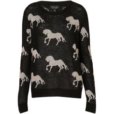 Knitted All Over Horses Jumper ($72) ❤ liked on Polyvore featuring tops, sweaters, jumper, shirts, black, horse jumper, pattern shirts, pattern tops, print top and jumper shirt