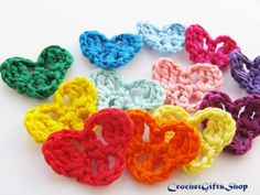 Crochet pattern heart Set Applique Garland от crochetgiftsshop
