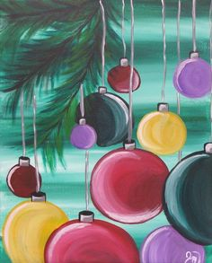 I like the shading on these ornaments. Christmas Paintings On Canvas, Christmas Canvas, Christmas Art, Tole Painting, Diy Painting, Wine And Canvas, Winter Painting, Pintura Country, Paint And Sip