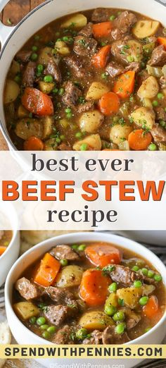 Best Ever Beef Stew Recipe This beef stew couldn't be easier or more flavorful. Tender stewing beef, carrots and potatoes in a rich brothy gravy. This is a favorite beef soup recipe. Easy Beef Stew, Beef Stew Meat, Slow Cooker Beef, Beef Stews, Beef Ribs, Beef Curry, Roast Beef, Roast Brisket, Braised Beef